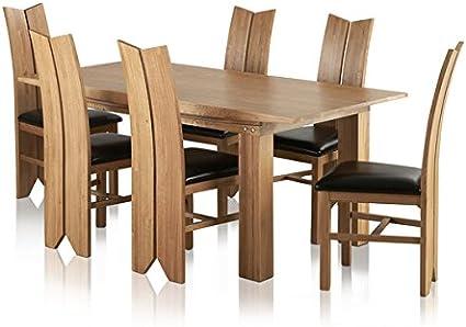 Juego de Comedor Grande de Roble Macizo Natural de Tokio Land – Mesa DE 1,8 m con 6 sillas de Piel de tulipán y Negro – Muebles de salón: Amazon.es: Hogar