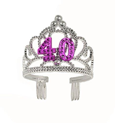 (Forum Novelties Happy Birthday 40th Silver Pink Tiara)