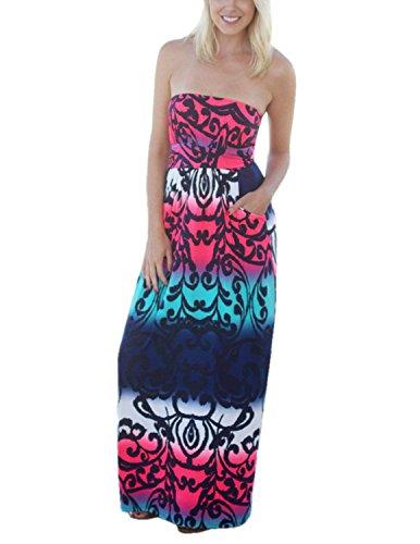 13 Bohme Floral Maxi Femmes Robe Bretelle carinacoco Robe t Robes Longue Bustier sans Couleur Plage Imprim de aqTfvxBn5w