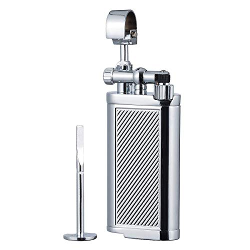 (Antique Style Lift Arm Tobacco Pipe Cigarette Butane Lighter with Tamper & Pick (Chrome))