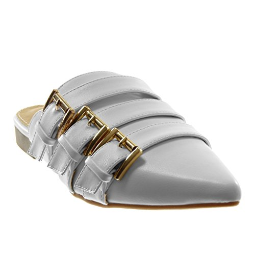 2 Wide Slippers Buckle Shoes Fashion Mules Heel Metallic strap Cm Slip back Multi Open on Bianco Donna Angkorly pOZxwEPqAp