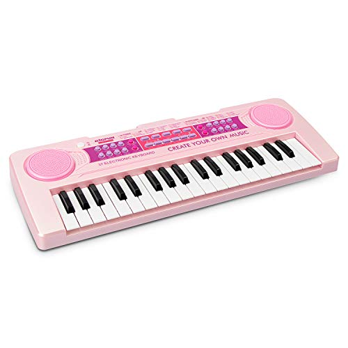 aPerfectLife Kids Keyboard Piano, 37 Keys Multi-Function Charging Electronic Educational Toy Organ for Kids Toddlers Children with Microphone (Pink) ()