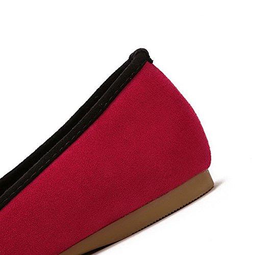 AalarDom Mujer Sin cordones Plano Esmerilado Sólido Plano Rojo-Pajarita