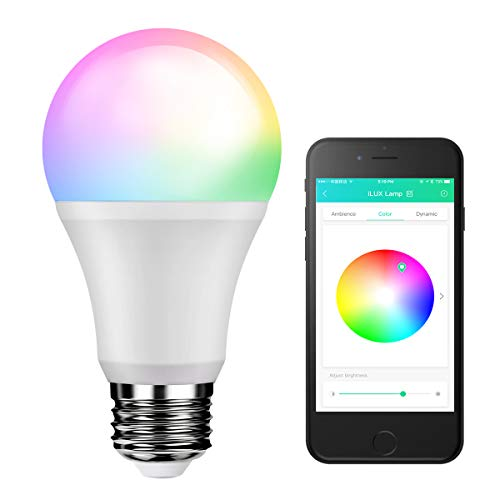 LE A19 E26 Smart Bulbs, No Hub Required, 9W 800lm Brightness, 60W Incandescent Equivalent, 4000K Neutral White, RGBW Dimmable LED Light Bulb, Smart Phone Control, Replace DMX512