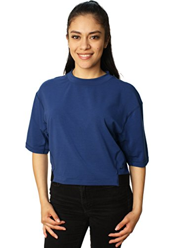 Nike Crop Top (Nike Women's Crackle Miler Crew Dri-Fit Stay Warm Half Sleeve Crop Top-Medium Blue)