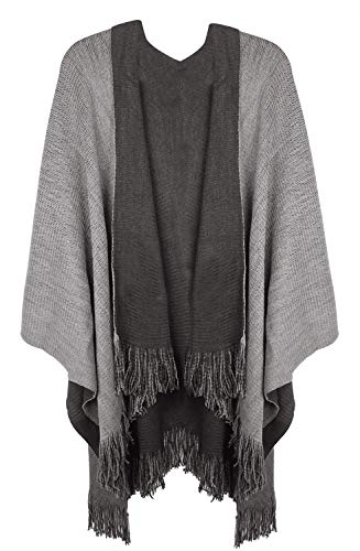 Lovful Womens Solid Color Knitted Fringe Blanket Kimono Poncho Cape Shawl Wrap,GrayBlack,One Size