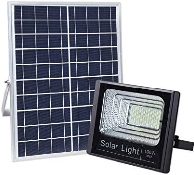 100W Solar Flood Light Outdoor Dusk to Dawn with Remote Control 196 LEDs 5000 Lumen Lamp for Yard, Swimming Pool, Garage, Warehouse, Playground, Hotel, Farm, Arena