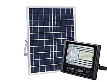100w Solar Powered Street Flood Lights 196 Leds 5 000 Lumens Outdoor Waterproof Ip67 With Remote Control Security Lighting For Yard Garden Gutter