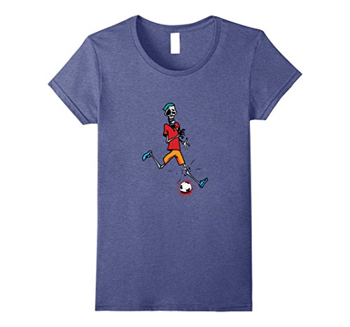Zombie Soccer Player Costume (Womens Zombie Soccer Player T Shirt Halloween 2017 XL Heather Blue)