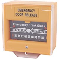DealMux Yellow Square Break Glass Fire Alarm Button DC 50V/30V AC 250V/50V w Cover