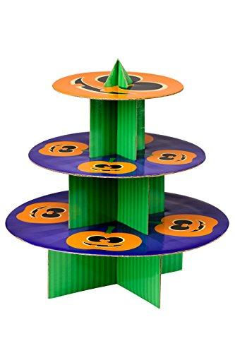 Premier Housewares Pumpkin 3 Tier Cake Stand, Cardboard, Orange/Green/Purple, 36 x 36 x 37 cm]()