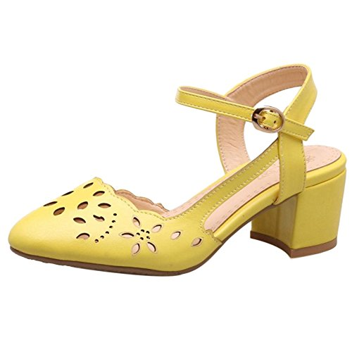 COOLCEPT Women Mode Blockabsatz Sandalen Cut Out Yellow
