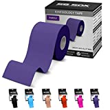 SB SOX Kinesiology Tape (16ft Uncut Roll) - Best Latex Free, Water Resistant Treatment for Muscles & Joints - Let Our Free Illustrative How-to-Use Guide Help You - Ideal for Any Activity (Purple)