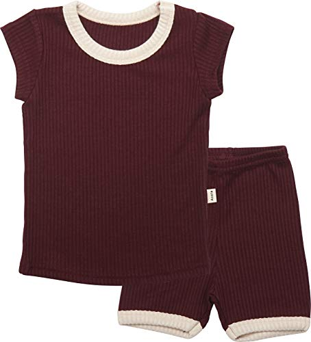 (AVAUMA Baby Boys Girls Simple Pj Set Kids Pajamas Short Sleeve Cotton 100%(Wine L/2T))