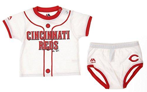 MLB Cincinnati Reds Infants Baby Boy Player Tee & Bottom Set, White (12 Months)