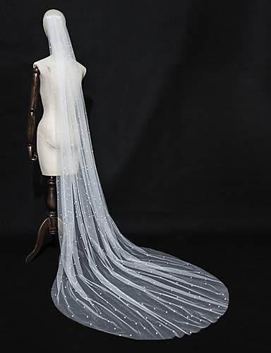 FengJingYuan-ZHUBAO One-Tier Elegant Luxurious Love Wedding Veil,Chapel Veils with Faux Pearl Studded Trim Tulle,Ivory