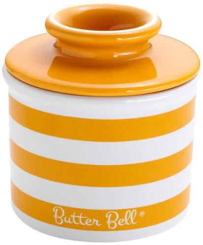 (The Original Butter Bell Crock by L. Tremain, Striped Collection - Tangerine Yellow)