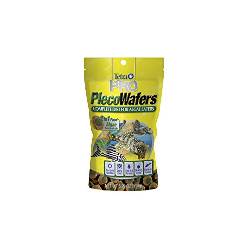 Tetra PRO PlecoWafers 5.29 Ounces, Nutritionally Balanced Vegetarian Fish Food, Concentrated Algae Center from Tetra