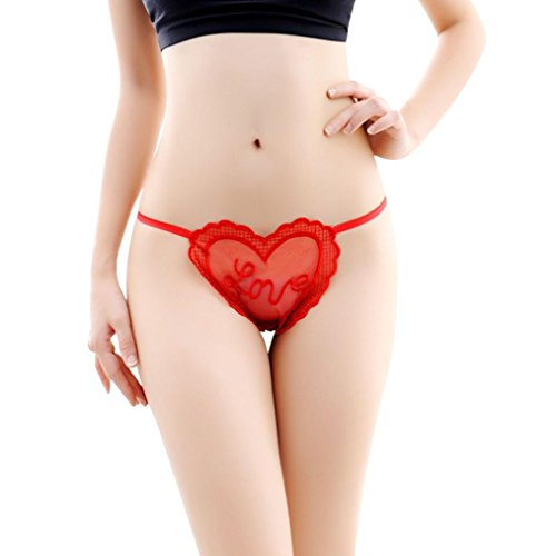 Rumas Women Sexy Lace Briefs Heart Thongs G-string Lingerie Underwear (red)