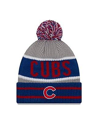 New Era Chicago Cubs Banner Block Pom Knit Hat/Cap