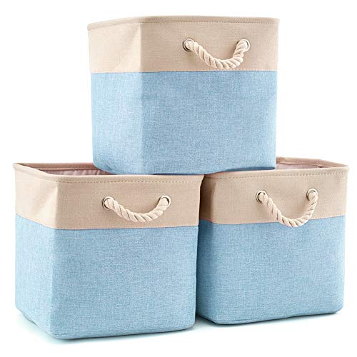 EZOWare 3-Pack Collapsible Storage Bins Basket Foldable Canvas Fabric Tweed Storage Cubes Set with Handles for Babies Nursery Toys Organizer (13 x 13 x 13 inches) (Cream/Blue)
