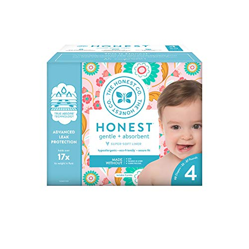 The Honest Company Club Box Flower Child Diapers with Trueabsorb Technology, Size 4, 60Count