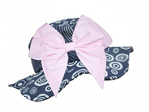 Jamie Rae Hats Navy Blue Dot Bow-Rae-Mi Sun Hats with Pale Pink Bow-Rae-Mi