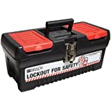 "Brady Polypropylene Lockout Toolbox, Legend Lockout for Safety, Medium, 7.8"" Height, 16.2"" Width, 7.3"" Depth"