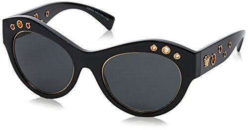 Versace Womens Sunglasses (VE4320) Black/Grey Plastic,Nylon - Non-Polarized - - Cat Eye Sunglasses Versace
