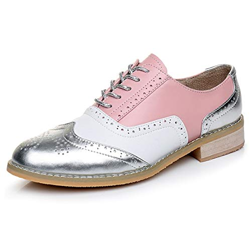 b1c302b27507 LaRosa Women s Handmade Assorted Colors Carved Wingtip Lace-up Leather  Brogues Flat Oxford Shoes
