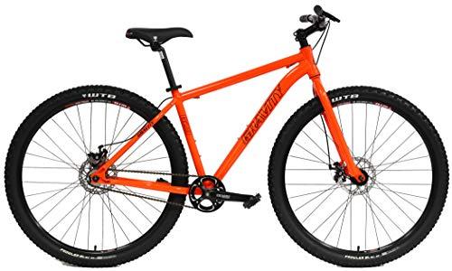 "Gravity G29 SS 29er Single Speed Mountain Bike + Lock Out Suspension Fork Disc Brakes (Orange, 17.5"" - 5"
