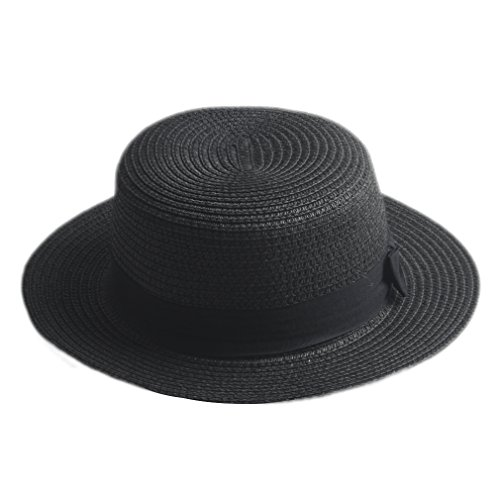 Elee Children Girls Straw Bowler Derby Hat Round Flat Brim Caps (Black) -
