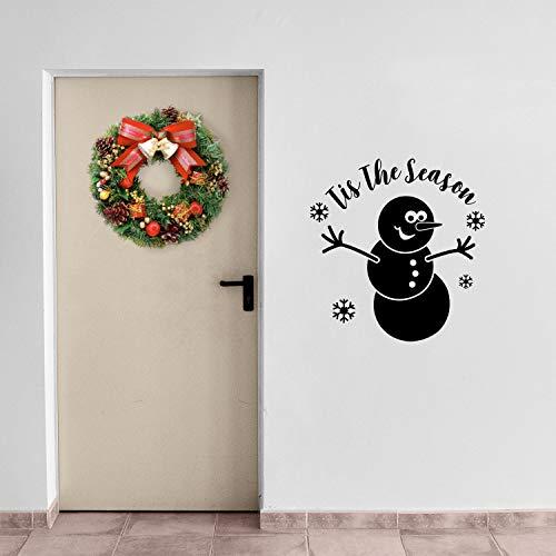 Vinyl Wall Art Decal - Tis The Season Snowman - 23