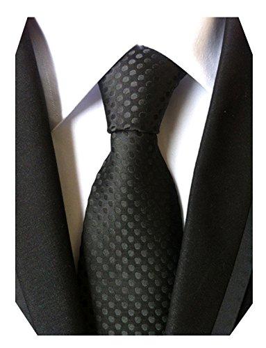 MENDENG Classic Polka Dot Black Red Blue Jacquard Woven Silk Mens Tie Necktie