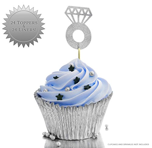 Price comparison product image Diamond Engagement Ring Cupcake Toppers & Cupcake Foil Wrappers (24-Pack Silver Color); Glitter Cake Topper Decorations for Proposals,  Engagement Parties,  Party Favors,  Bridal Showers,  & Weddings