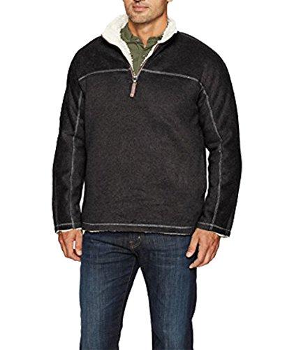 True Grit Men's Melange & Heather Fleece & Faux Fur 1/4 Zip Pullover, Black Melange, S