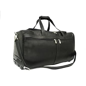 Piel Leather Duffel On Wheels, Black, One Size