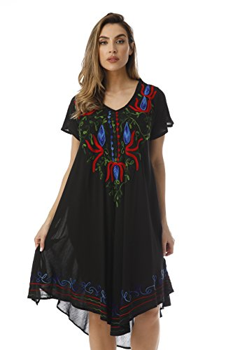Riviera Sun Rayon Crepe Short Sleeve Dress with Multicolored Embroidery 21855-BLK-L Black