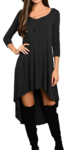 Loose Swing Pleated Irregular Black 4 Women Sleeve 3 Cromoncent Crewneck Dresses HRYOq