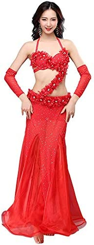 Frauen Tanzen Kleider Bauchtanz Kostüm Set Bauchtanz BH und Gürtel Tanzen Röcke professionelles Outfit 4 Stück for Frauen Salsa Tango Latin Dancewear (Color : Red, Size : M)