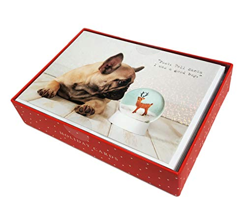 Tell Santa I Was a Good Boy French Bulldog & Snow Globe Box of 15 Christmas Holiday Greeting Cards & Envelopes