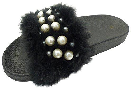 Cambridge Velg Kvinners Faux Fur Perle Slip-on Flat Lysbilde Sandal Sort