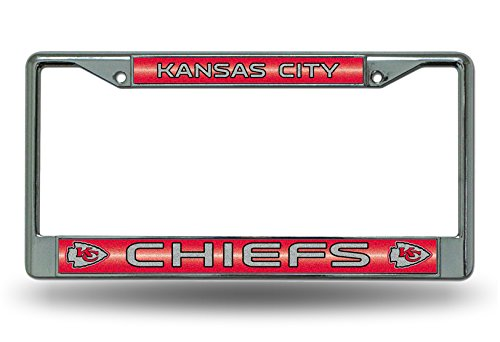 NFL Kansas City Chiefs Bling Chrome License Plate Frame with Glitter Accent