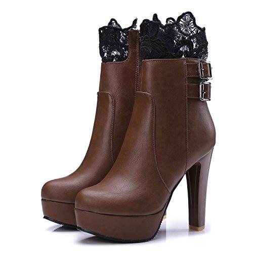 Mei&S Bloque de Mujer Tacones Botines de Puntera Redonda Zapatos con Plataforma de Cremallera Lateral,