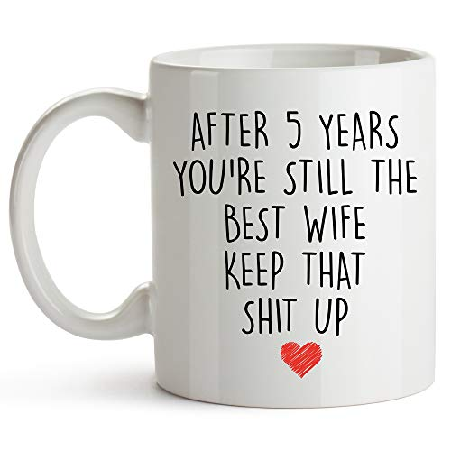 YouNique Designs 5 Year Anniversary Coffee Mug for Her, 11 Ounces, 5th Wedding Anniversary Cup For Wife, Five Years, Fourth Year, 5th Year (Best 5th Year Wedding Anniversary Gifts)
