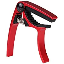 String House CUC03 Trigger Style Ukulele Capo with Pouch - Aluminum Alloy, Red