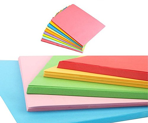 Price comparison product image 100Sheets A4 Assorted Coloured Pastel Bright Paper Multipurpose Double Sided Folding Origami Paper For Kid's Art & Craft Activities Office Family Use