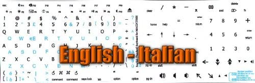 MAC ENGLISH-ITALIAN KEYBOARD STICKER ON WHITE BACKGROUND