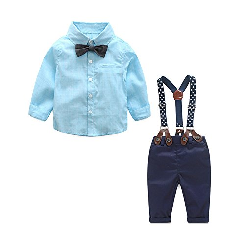(Anna&Judy Baby Boys' 3 Piece Gentlemen Bowtie Solid Shirts and Pants Clothing Set with Straps (Blue, 95/19-24Months))