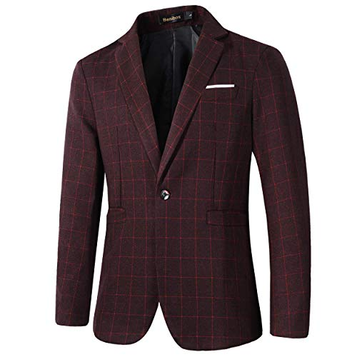 (Beninos Mens Casual One Button Slim Fit Plaid Blazer Jacket (771 Burgundy, XL))